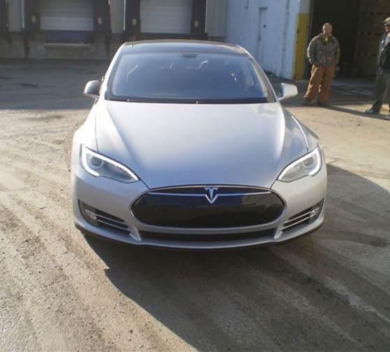 New Tesla loaded on a 20' container for delivery
